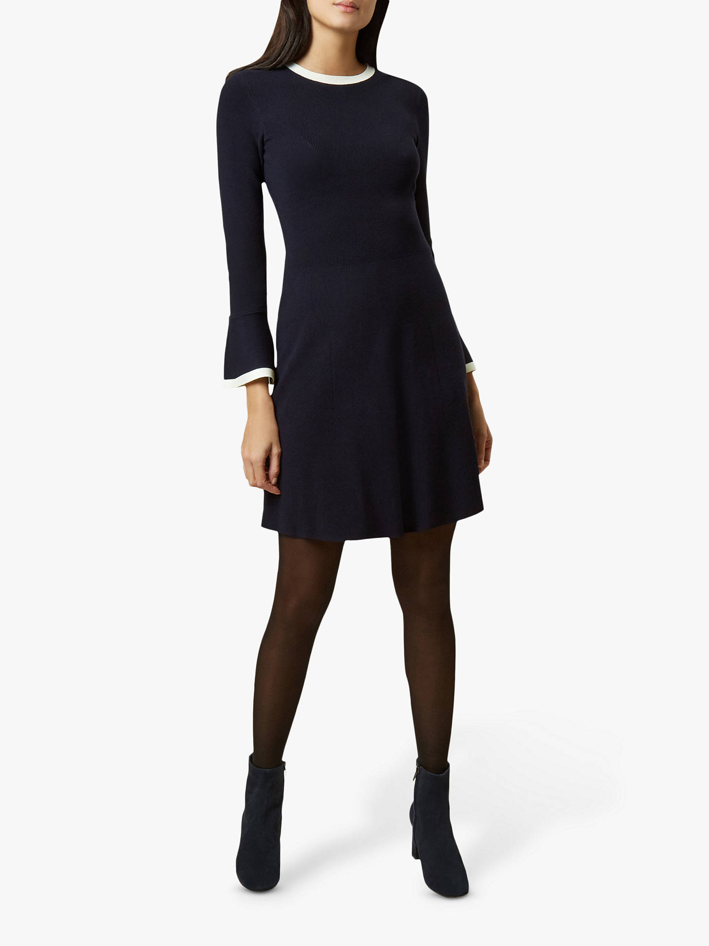 Buy Hobbs Willow Dress, Navy/Ivory, 14 Online at johnlewis.com