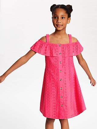 fab01cffd628 John Lewis & Partners Girls' Broderie Dress, Hot Pink