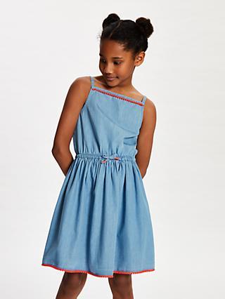 a964095f7e John Lewis   Partners Girls  Chambray Pom Pom Dress