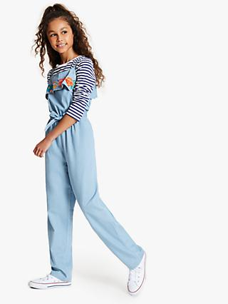 John Lewis & Partners Girls' Chambray Embroidered Jumpsuit, Blue