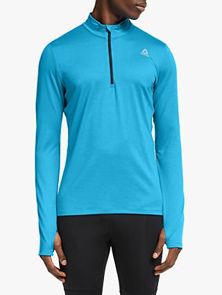 Reebok Running Essentials Quarter Zip Running Top, Cyan