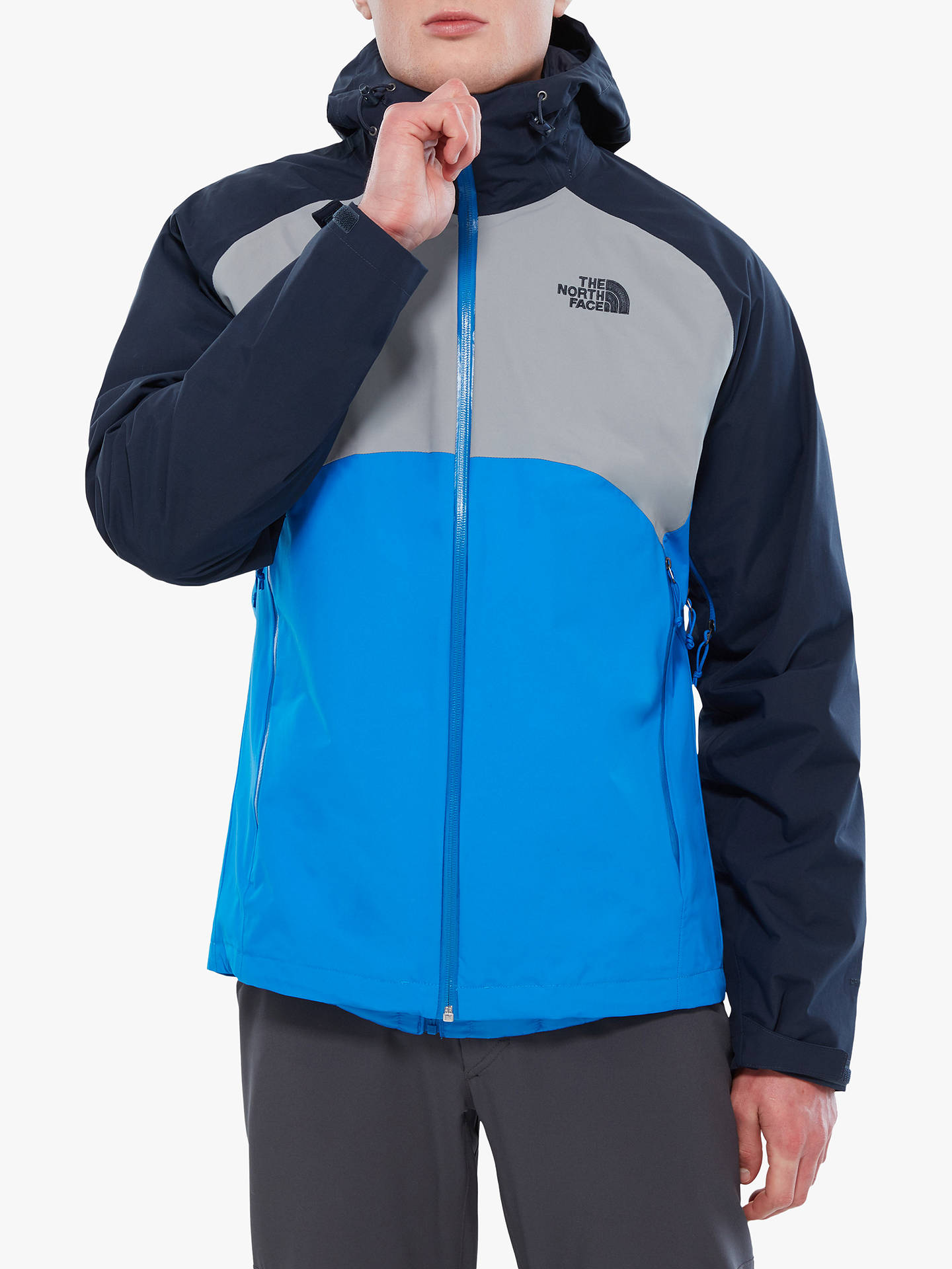 129631cde The North Face Stratos Men's Waterproof Jacket, Bomberble/Mid Grey/Urban  Navy
