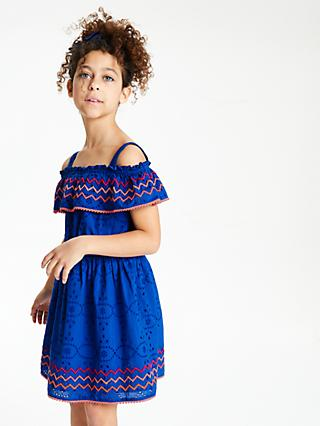John Lewis & Partners Girls' Broderie Dress, Blue