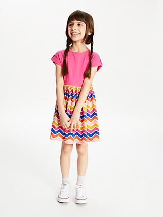 John Lewis & Partners Girls' Zig Zag Dress, Pink/Multi
