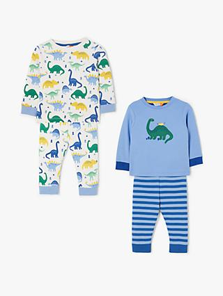 John Lewis & Partners Baby GOTS Organic Cotton Dinosaur Pyjamas, Pack of 2, Multi