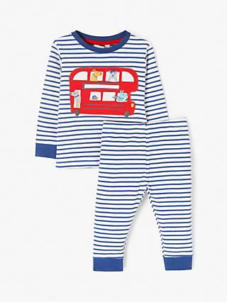 John Lewis & Partners Baby GOTS Organic Cotton Bus Graphic Pyjamas, Blue