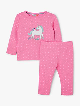 John Lewis & Partners Baby GOTS Organic Cotton Unicorn Dot Pyjamas, Pink