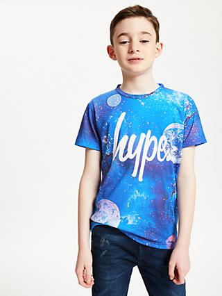 Hype Boys' Cosmic System Script T-Shirt, Blue/Multi