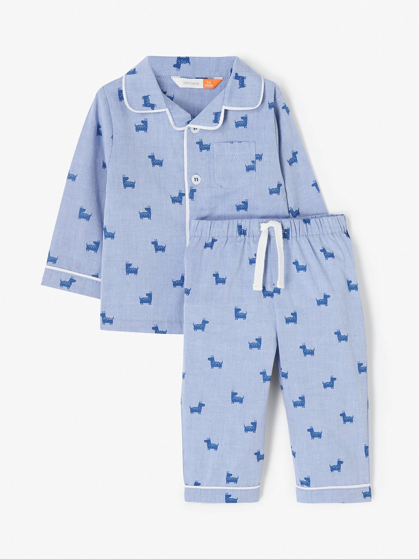 fc38e3da77b1 John Lewis & Partners Baby Dog Print Pyjama Set, Blue at John Lewis ...