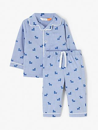 John Lewis & Partners Baby GOTS Organic Cotton Dog Print Pyjama Set, Blue