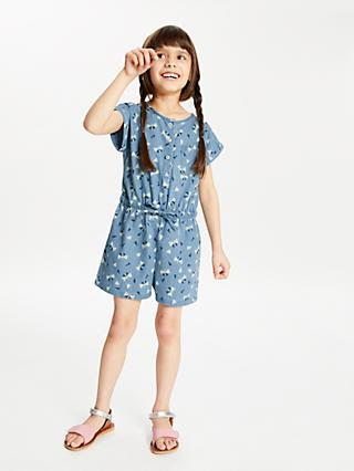 John Lewis & Partners Girls' Chambray Playsuit, Blue