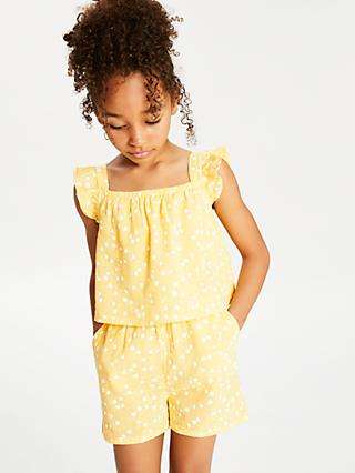 John Lewis & Partners Girls' Daisy Print Playsuit, Yellow