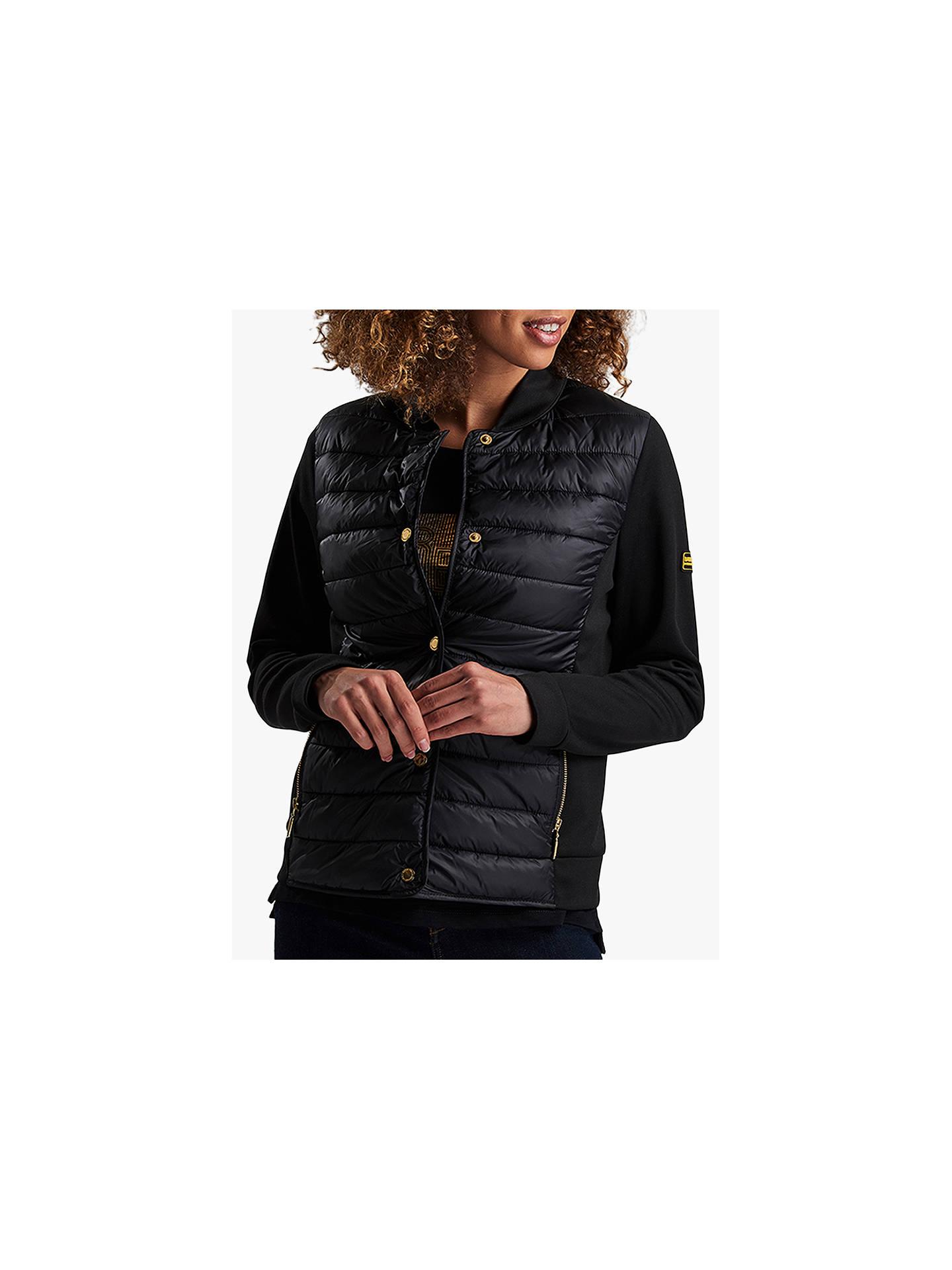 11ada5985 Barbour International Hurdel Quilted Jacket, Black at John Lewis ...