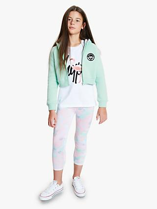 Hype Girls' Cropped Full Zip Hoodie, Green