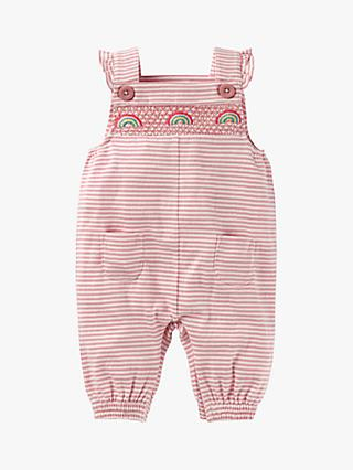 Mini Boden Baby Stripe Smocked Dungaree, Pink