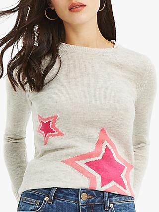 Oasis Sandra Star Jumper, Grey/Multi