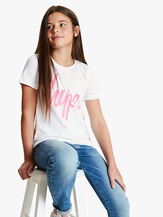 Hype Girls' Splat Logo Print T-Shirt, White/Pink