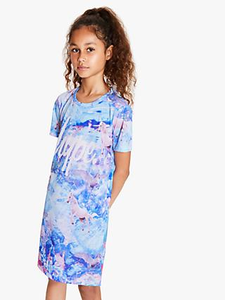 Hype Girls' Unicorn Dream T-Shirt Dress, Blue