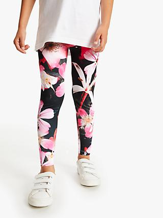 Hype Girls' Flower Print Leggings, Black/Pink