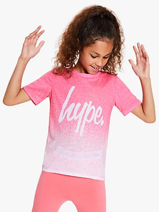 Hype Girls' Dip Dye Logo Print T-Shirt, Pink/White