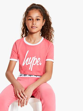 Hype Girls' Logo Print Cropped T-Shirt, Pink/White