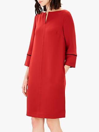Jaeger Crepe Piping Dress, Red