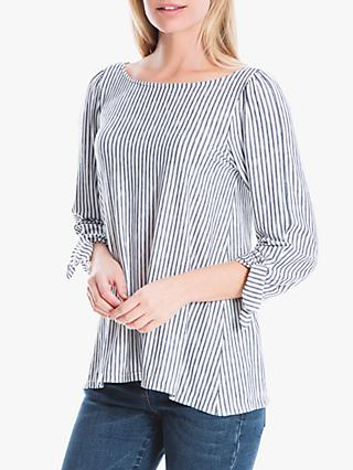 Max Studio Striped Jersey Top, Ivory/Navy