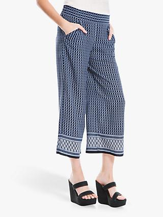 Max Studio Wide Leg Geo Border Print Trousers, Navy