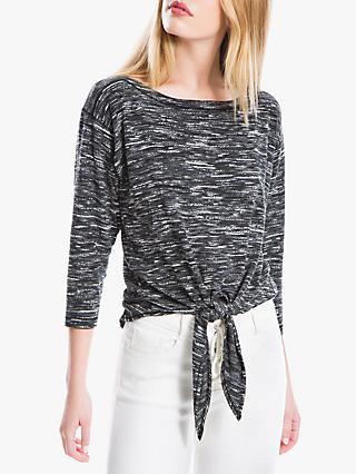 Max Studio Tie Front Jersey Top, Black Grey 4182538021