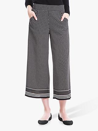 Max Studio Wide Leg Spot Border Trousers, Black/Cream