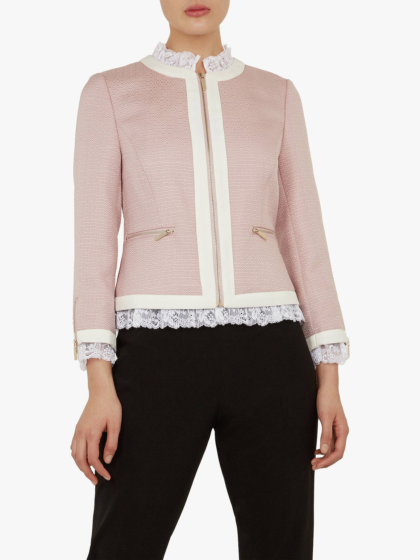 Ted Baker Ennio Lace Trim Cropped Tailored Jacket, Nude by Ted Baker