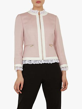 f30ff0174 Ted Baker Ennio Lace Trim Cropped Tailored Jacket