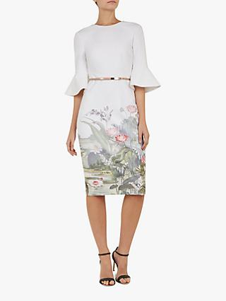Ted Baker Azania Floral Ruffle Detail Bodycon Dress, Ivory/Multi