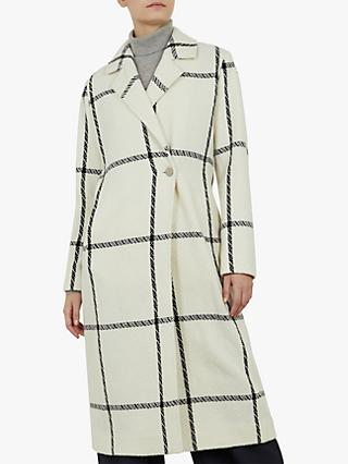 Ted Baker Soniq Tailored Check Coat, Ivory/Black