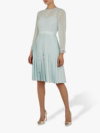 Ted Baker Diannah Lace Trim Pleated Dress, Blue Light