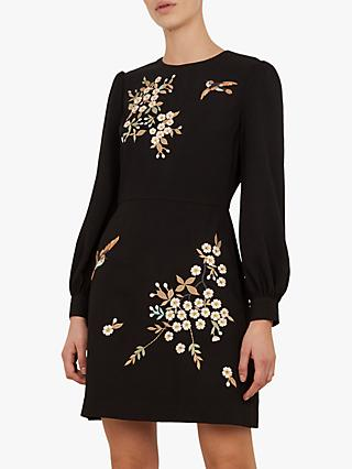 Ted Baker Lillien Floral Embroidered Dress, Black
