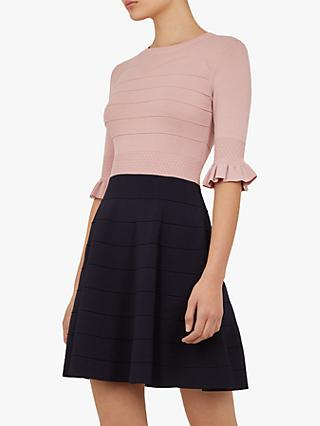 Ted Baker Dyana Wonderland Ruffle Detail Flared Dress, Blush/Black