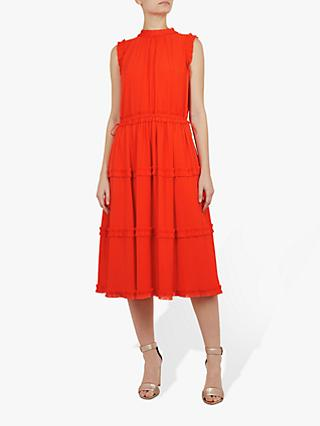 Ted Baker Sinita Tie Waist Midi Dress, Orange