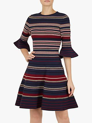 Ted Baker Tayiny Ottoman Stripe Ruffle Dress, Navy/Multi
