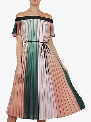 Ted Baker Fernee Colour Block Pleated Maxi Dress, Multi