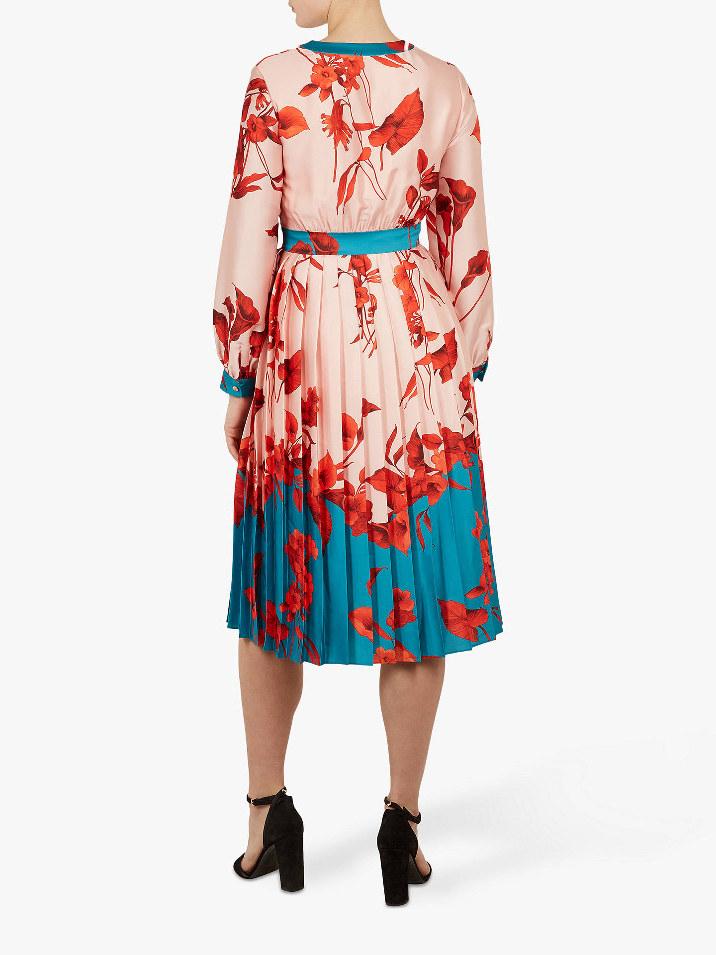 Buy Ted Baker Fantasia Bow Neck Midi Dress, Pink/Multi, XS Online at johnlewis.com