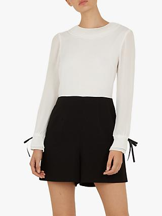 Ted Baker Fayt Tie Cuff Playsuit, Black/White