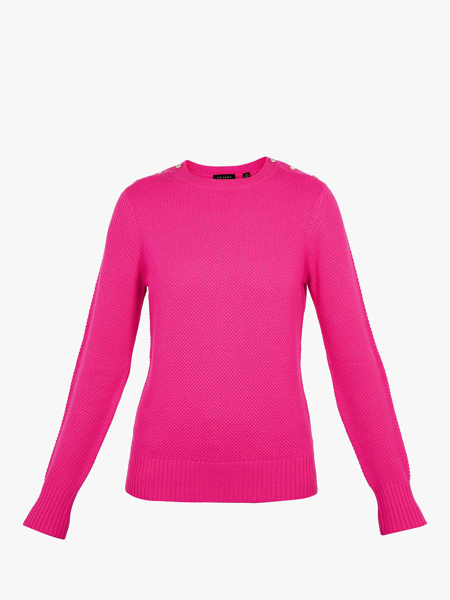 BuyTed Baker Gorjie Textured Stitch Button Shoulder Jumper, Fuchsia Pink, 4 Online at johnlewis.com