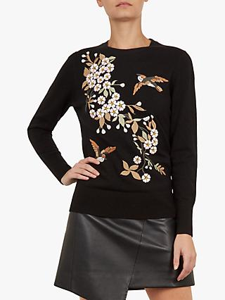 Ted Baker Helliah Floral Jumper, Black/Multi