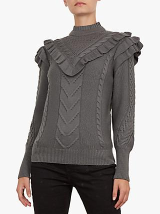 Ted Baker Denita Funnel Neck Ruffle Jumper, Charcoal