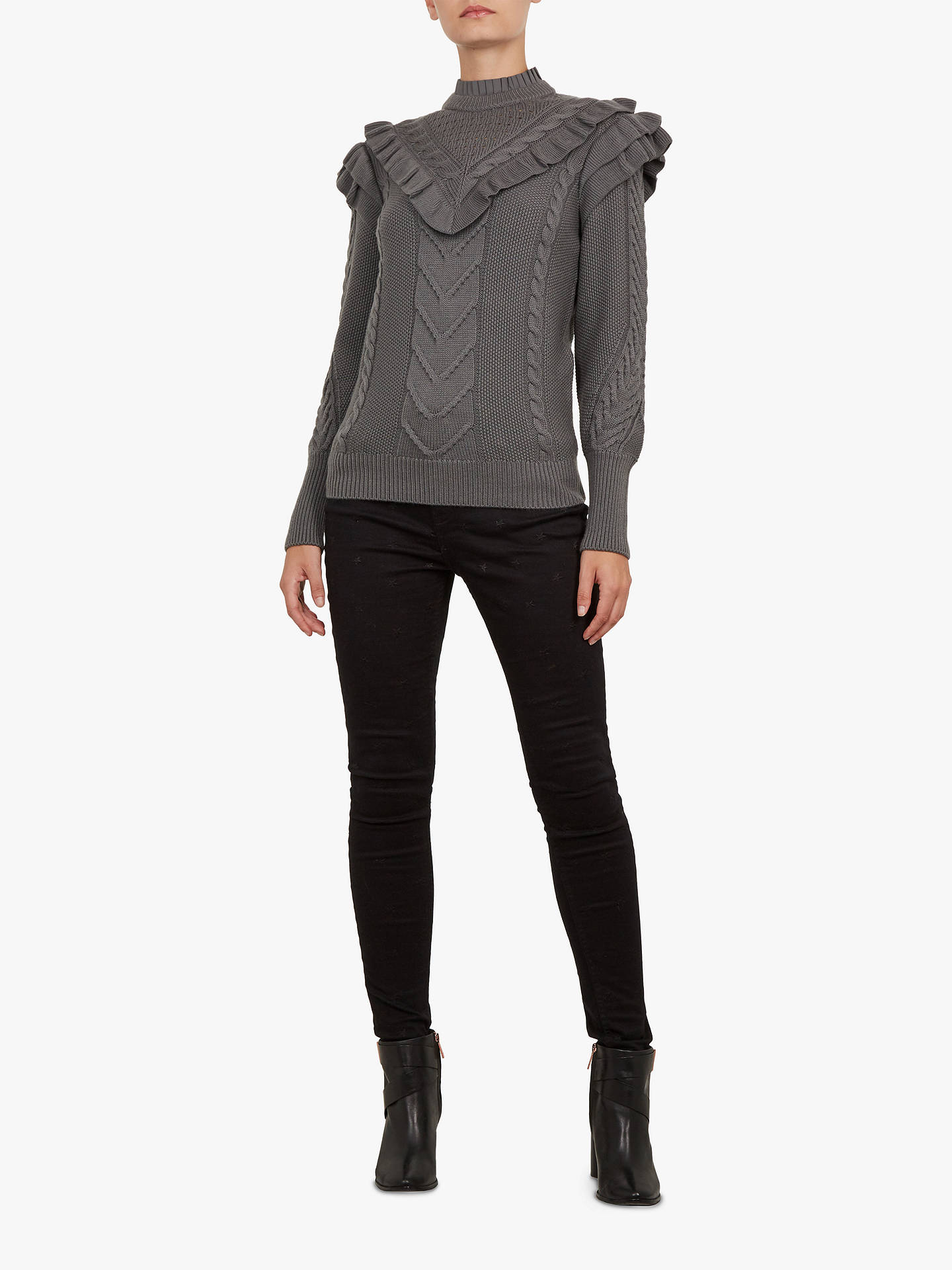 BuyTed Baker Denita Funnel Neck Ruffle Jumper, Charcoal, M Online at johnlewis.com