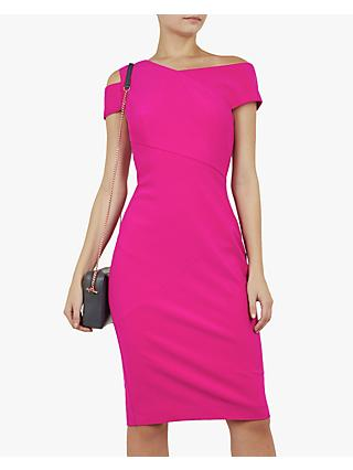 Ted Baker Aivilo Bodycon Shoulder Dress Hot Pink