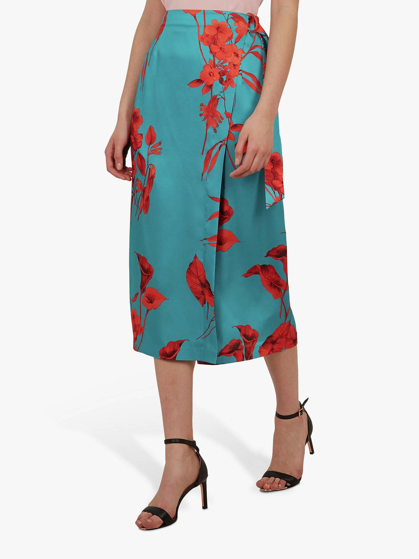 Buy Ted Baker Lilyyy Fantasia Floral Split Hem Midi Skirt, Turquoise, XL Online at johnlewis.com