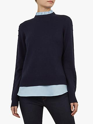 Ted Baker Lissiah Rib Detail Sweater, Dark Blue