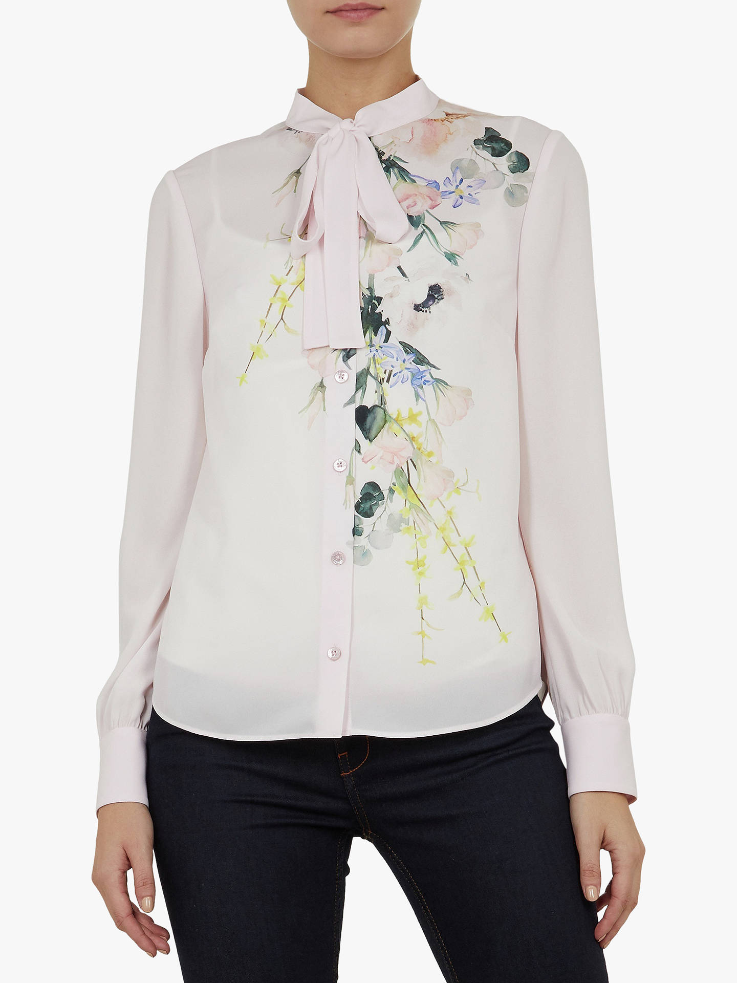 Ted Baker Lovii Tie Neck Floral Shirt, Pink Nude by Ted Baker